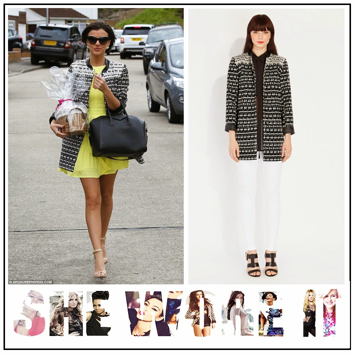 Black, Geometric, Jacquard, Lucy Mecklenburgh, Midi Coat, Oasis Fashion, Printed, The Only Way Is Essex, TOWIE, White,