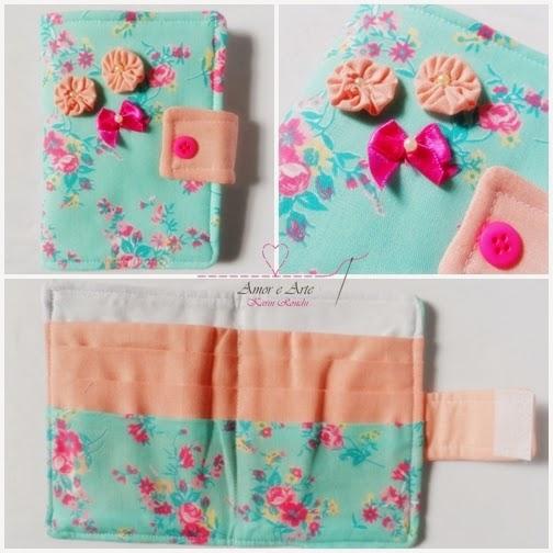 Carteira em tecido - Encanto - Floral verde e rosa, liso salmão