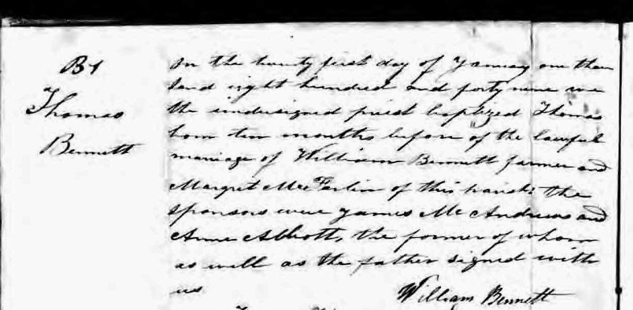 Climbing My Family Tree: Thomas Bennett Baptismal Record 21 January 1849,