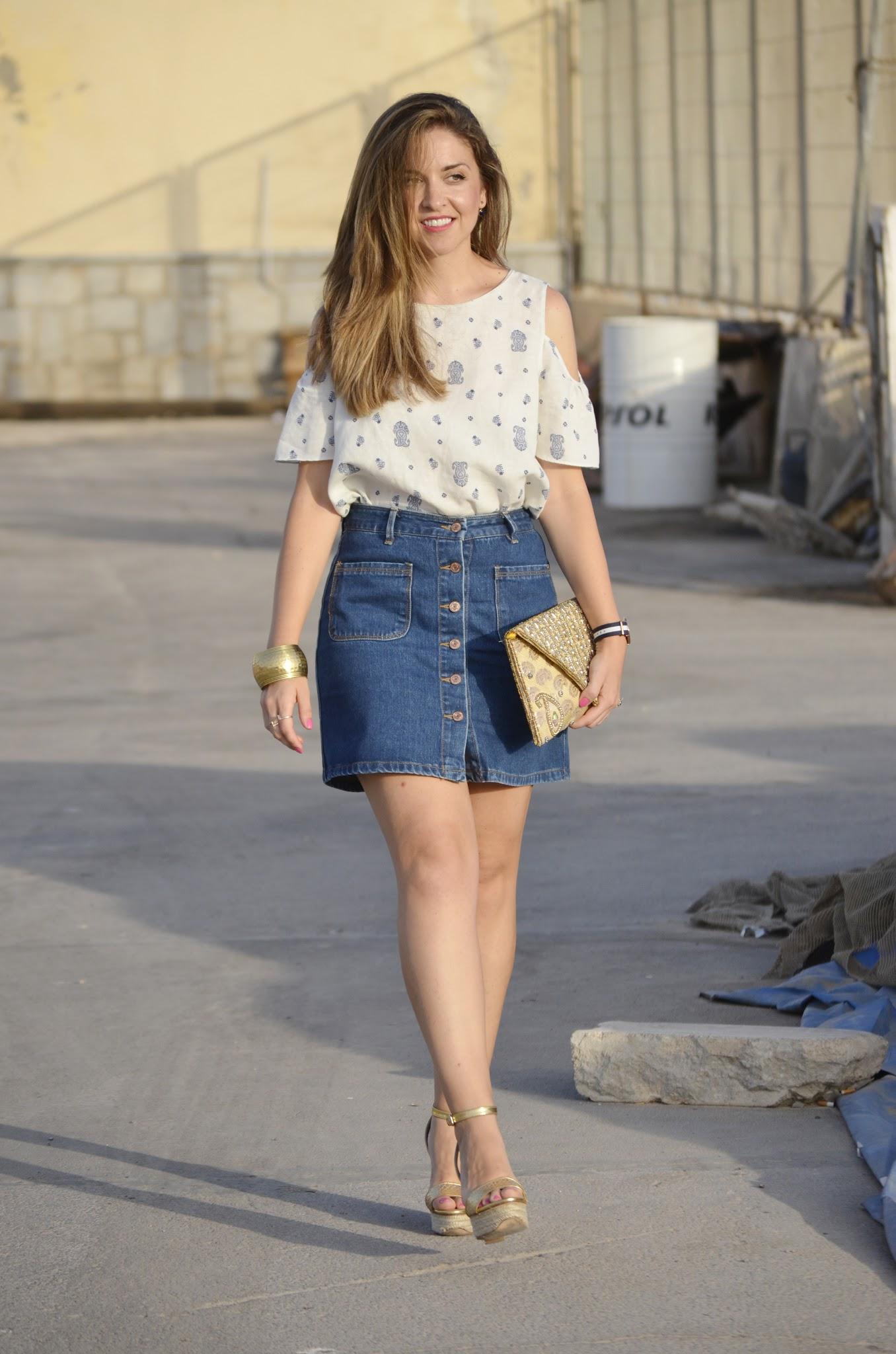 look wearing denim skirt