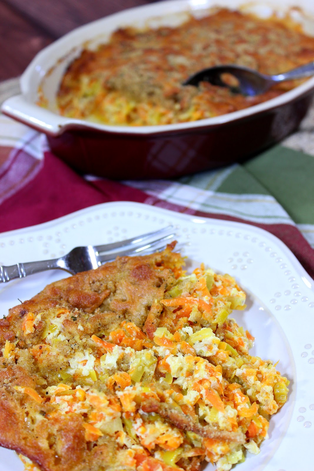 Carrot and Leek Gratin - http://www.kudoskitchenbyrenee.com/2015/03/carrot-and-leek-gratin-plus-cookbook-giveaway.html