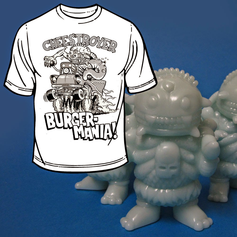 "Cheestroyer x Rat Fink ""Cheesfink"" T-Shirt & Blue Glow in the Dark Gheestroyer Vinyl Figure Set by Bad Teeth"