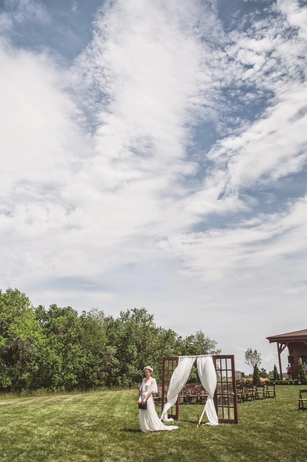 Vintage outdoor wedding bride