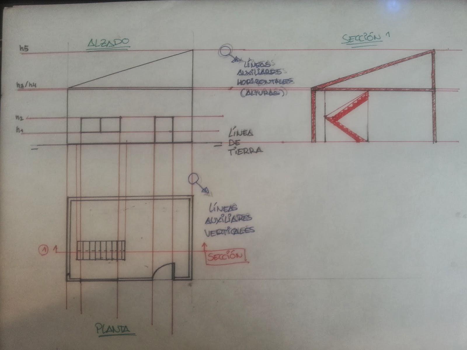 Alzados y secciones de una vista de planta - Alzado arquitectura ...