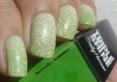 sally hansen, triple shine, kelp out, wet n wild, megalast, limited edition, green tease, nail plate, mundo de unas, bones
