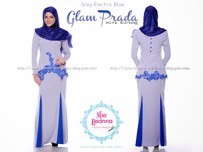 GLAM PRADA MINI KURUNG - GREY ELECTRIC BLUE