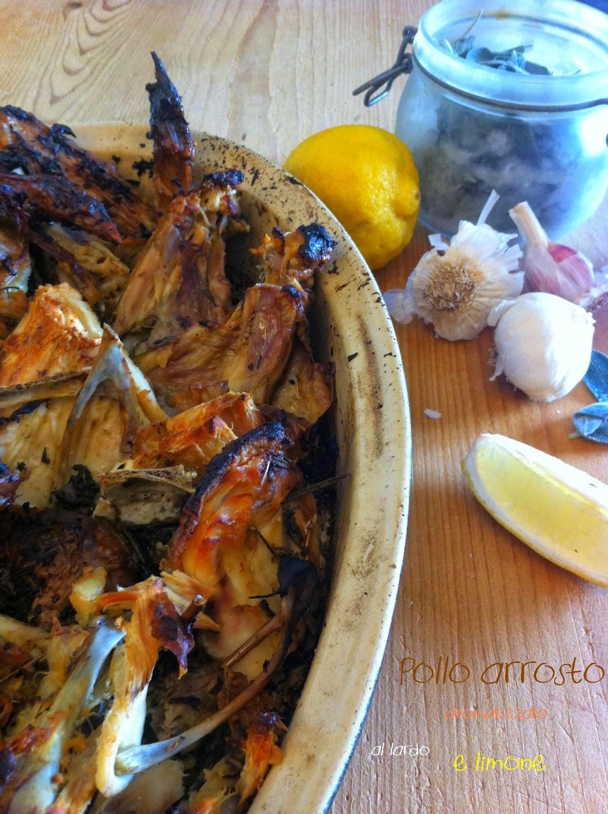 pollo arrosto aromatizzato al lardo e limone