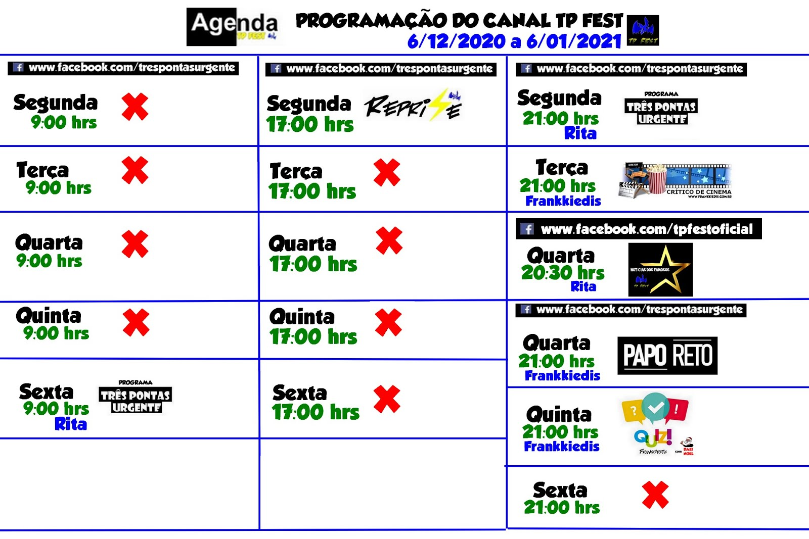 PROGRAMAÇÕES NO CANAL TP FEST