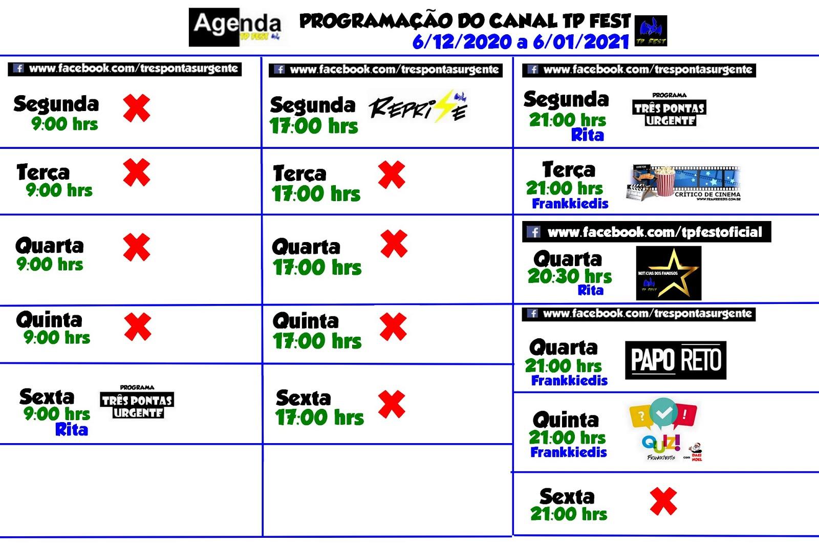 PROGRAMAÇÕES NO CANAL TP FEST