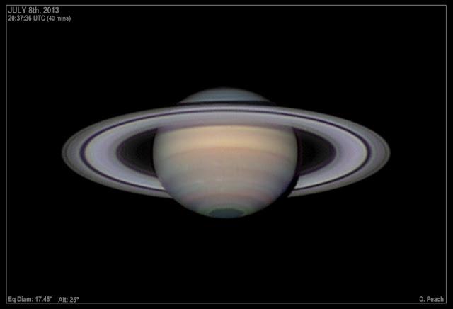 Sao Thổ nằm trong chòm sao Libra (Thiên Bình) vào sáng sớm. Tác giả : Damian Peach.