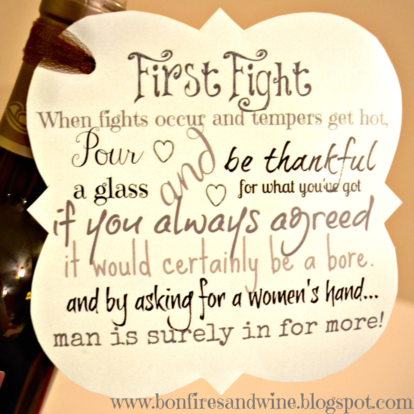 Quotes On Wedding Gift : Bonfires and Wine: DIY Wine Wedding Gift
