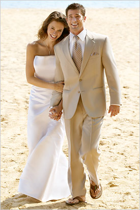 A Solid Semi Formal Beach Look Is Beige Or Khaki Tuxedo Suit As You Can See From The Picture Above Pair It With Long Tie If Want To