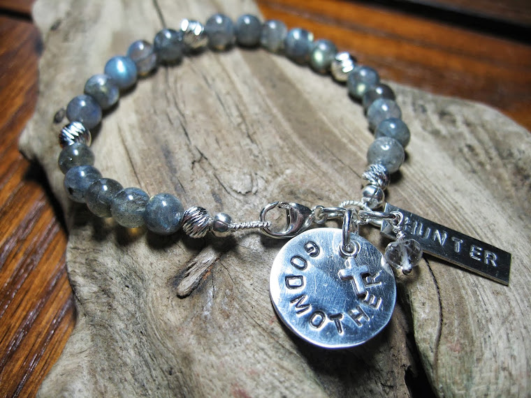Custom Metal stamped Labradorite bracelet for Godmother