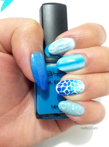nails 2am blue ombre mosaic