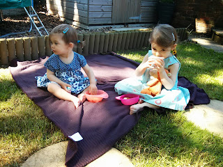 Sisters picnic in the sun