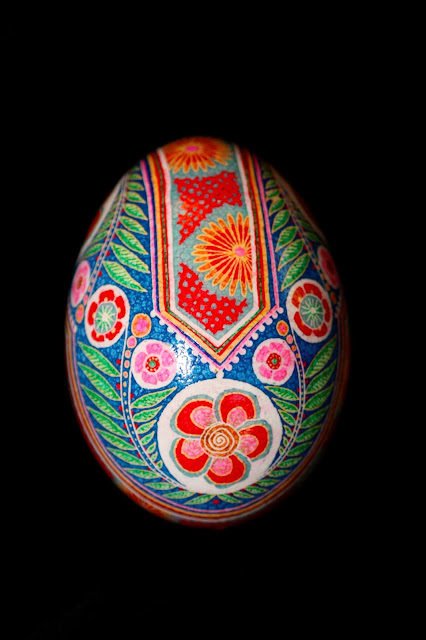 Pink, red, blue and green Ukrainian Easter Egg