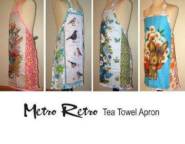 Metro Retro Handmade Tea Towel Apron