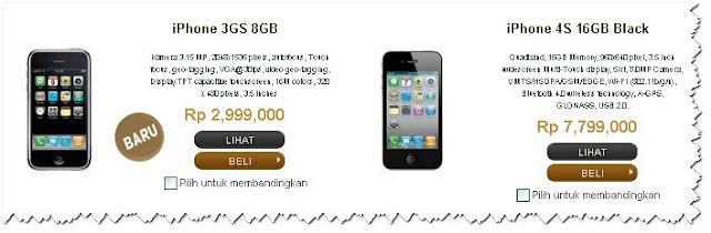 harga iphone 3GS dan iPhone 4S