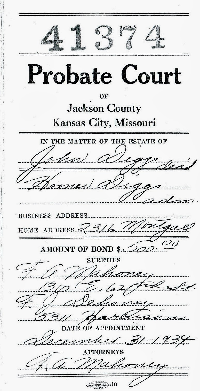 Tracilizzs genealogy blog diversitys gleanings john diggs lived in kansas city at 2316 montgall st he died in 1934 and his estate was filed in the jackson county mo probate court aiddatafo Choice Image