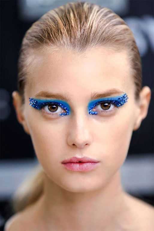 Dior spring 2013 runway makeup, mediterranean blue eyeshadow, swarovski crystals makeup