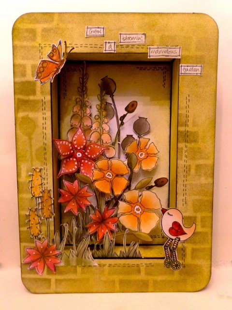 A4 Shadow Box by Clare Charvill altered with Paperartsy stamps and stencils