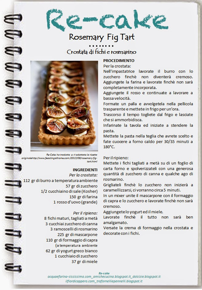 "Ho partecipato a Re-cake wants you di Settembre 2014 ""Rosemary fig tart"""