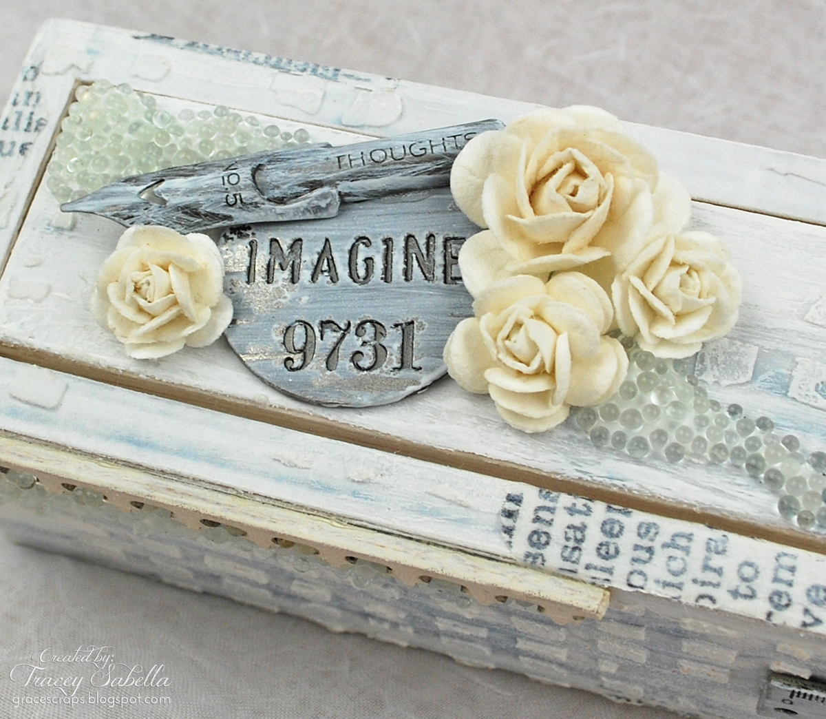 Pencil Box by Tracey Sabella for Helmar. Mixed media, Wild Orchid Crafts, 13 Arts, Tim Holtz