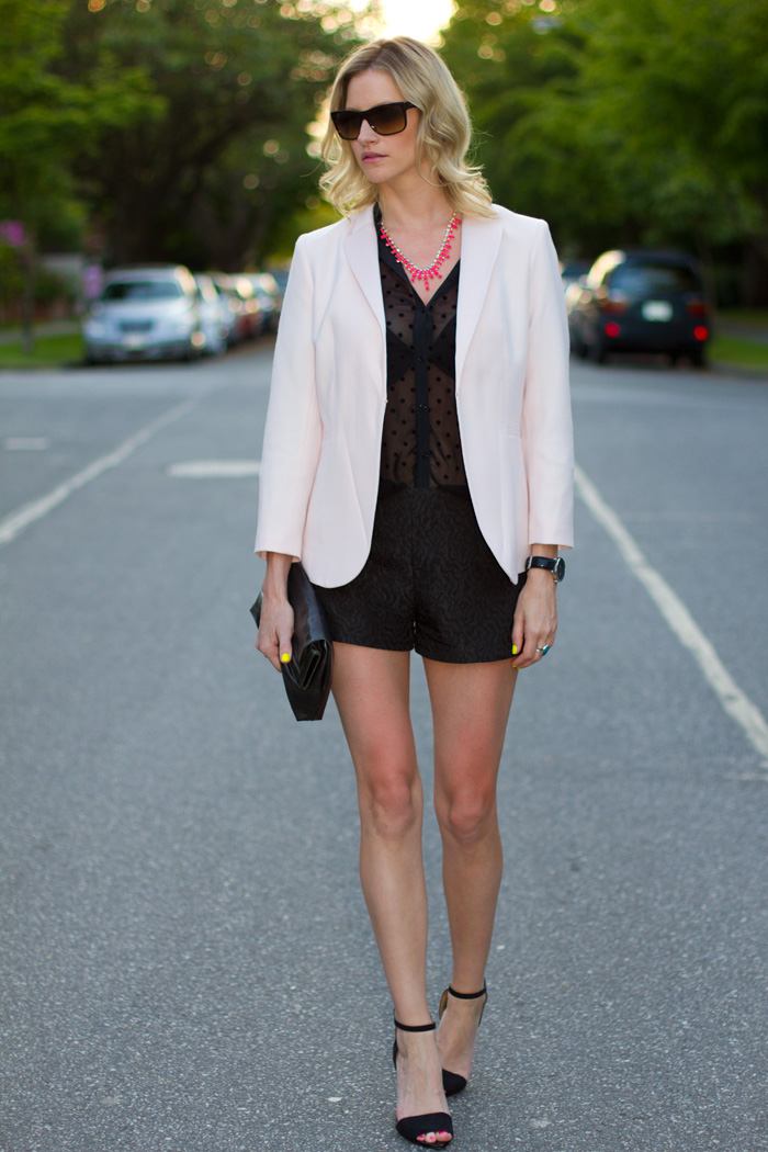 Vancouver Fashion Blogger, Alison Hutchinson, wearing H&amp;M pink blazer, Zara Black Polka Dot Blouse, H&amp;M Neon Pink Necklace, Zara Shorts, Zara Black Heels