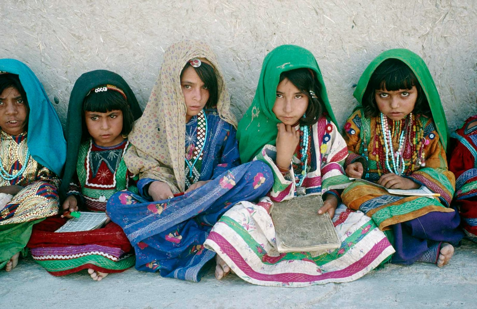Above: Refugee girls at a school