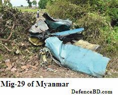 Crashed Mig-29 Fighter Aircraft  of Myanmar Air Force