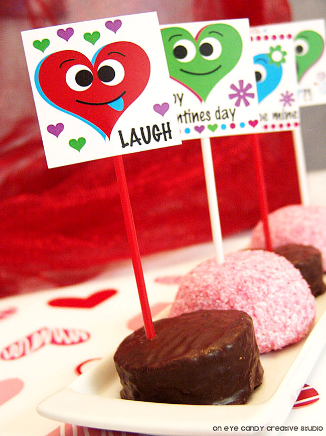 silly heart faces, kids valentines class party, classroom treats, no bake