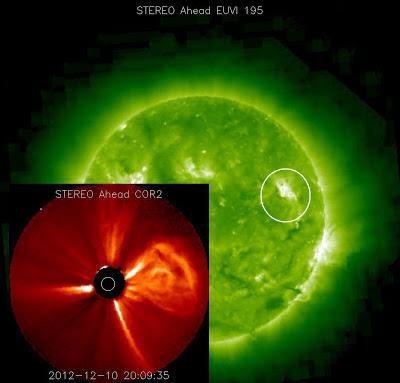 Eyección de masa coronal NO dirigida hacia la Tierra, el 10 de Diciembre de 2012