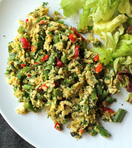 Scrambled duck eggs with green beans, red pepper, and fresh herbs