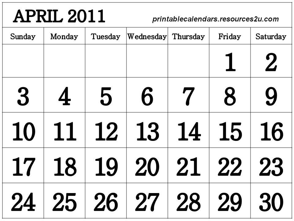 2011 calendar printable april. Free Printable April 2011