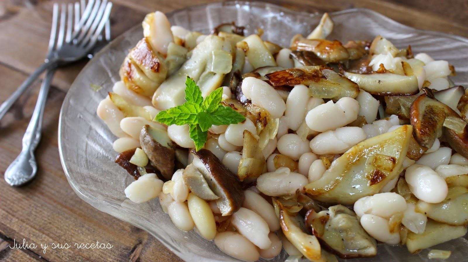 Ensalada templada de alubias y boletus for Como cocinar alubias blancas