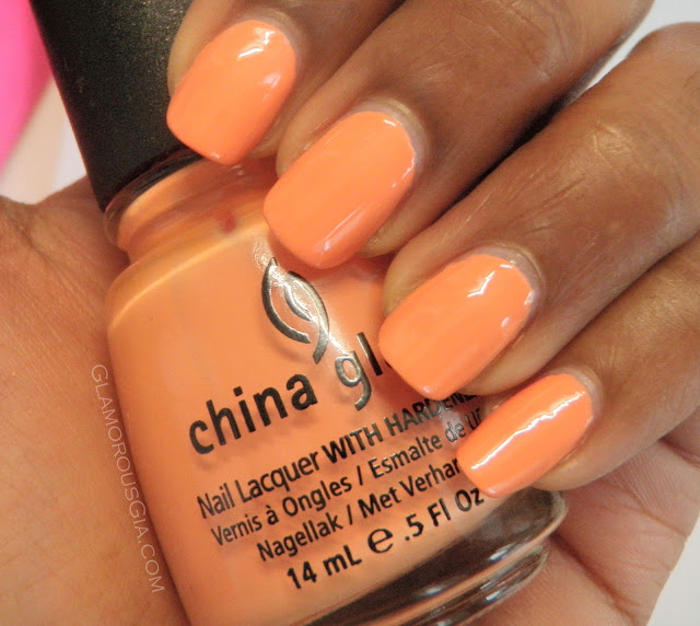 Review and swatches China Glaze nail polish light peach color Peachy Keen.