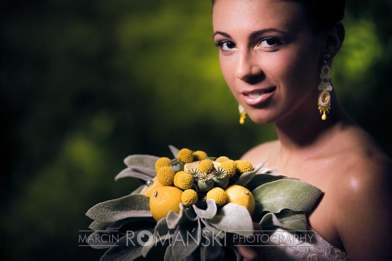 Długie, żółte kolczyki ślubne soutache