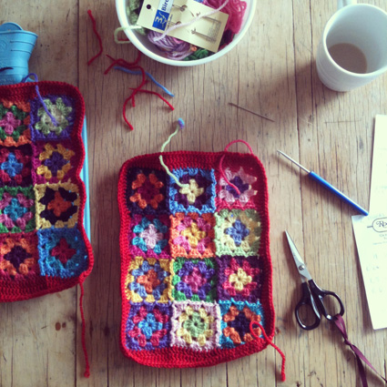 Wild Plum Hill Granny Square Hot Water Bottle Cover