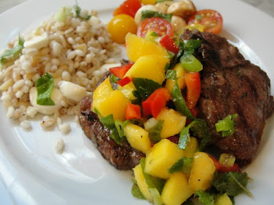 lamb chops with peach salsa