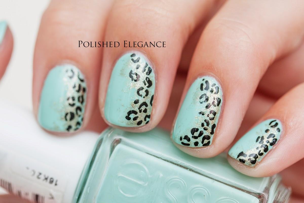Mint gold black leopart nail art manicure mint leopard nail art manicure animal print nail art manicure