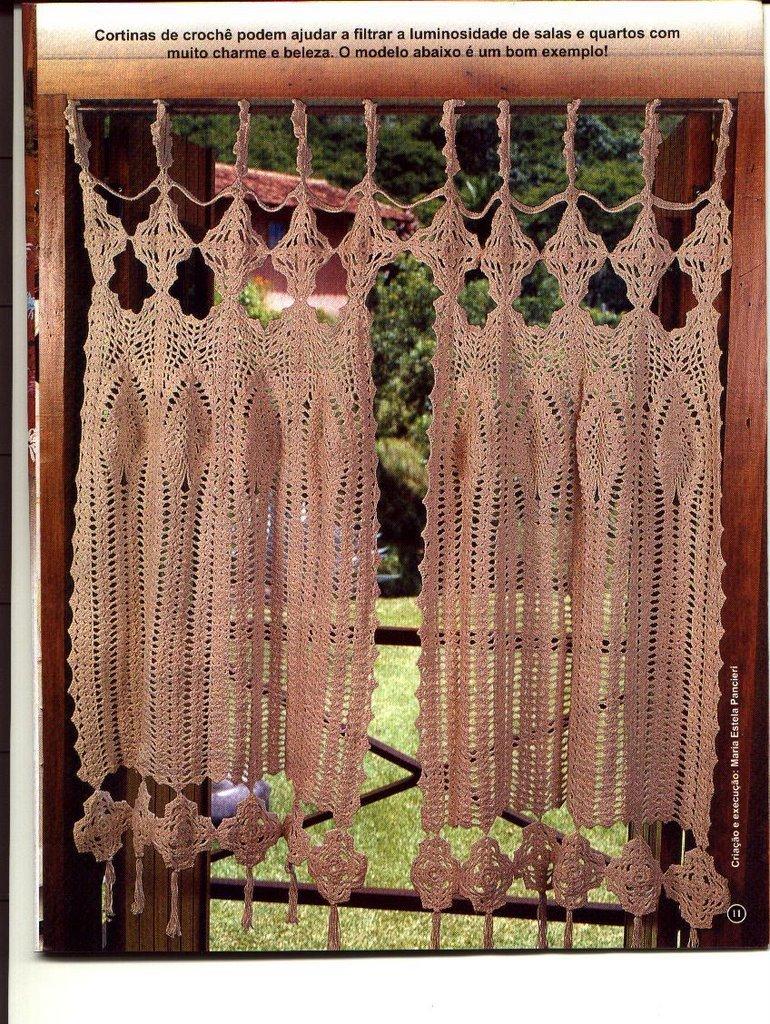 Soranyi crochet cortinas a crochet algunas con patron for Cortinas de cocina hechas