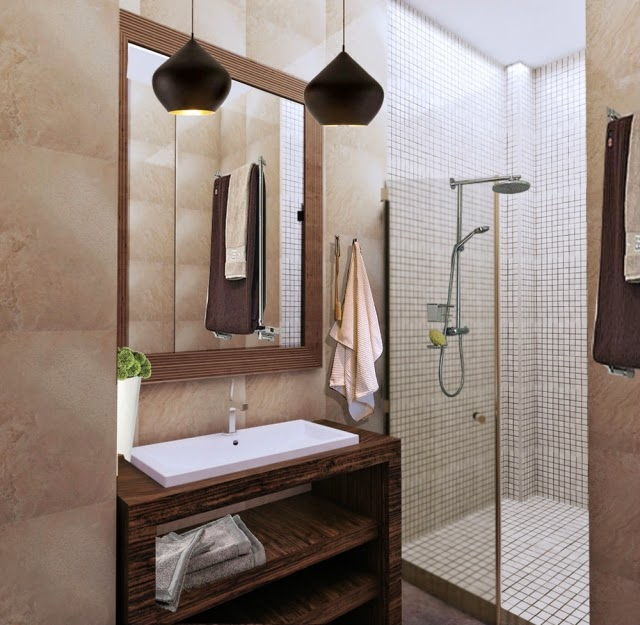 Attractive Shower Glass Wall Wood Basin Beige Tiles
