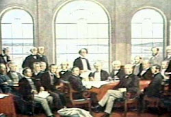 Fathers Of Confederation sitting around the table