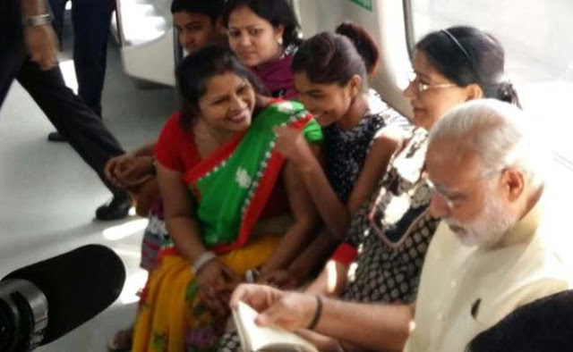 Prime Minister Narendra Modi took a Delhi Metro to inaugurate the extension of the Badarpur Line to Faridabad in Haryana.  An official video shows him interacting with the passengers all of who wanted a selfie with him.
