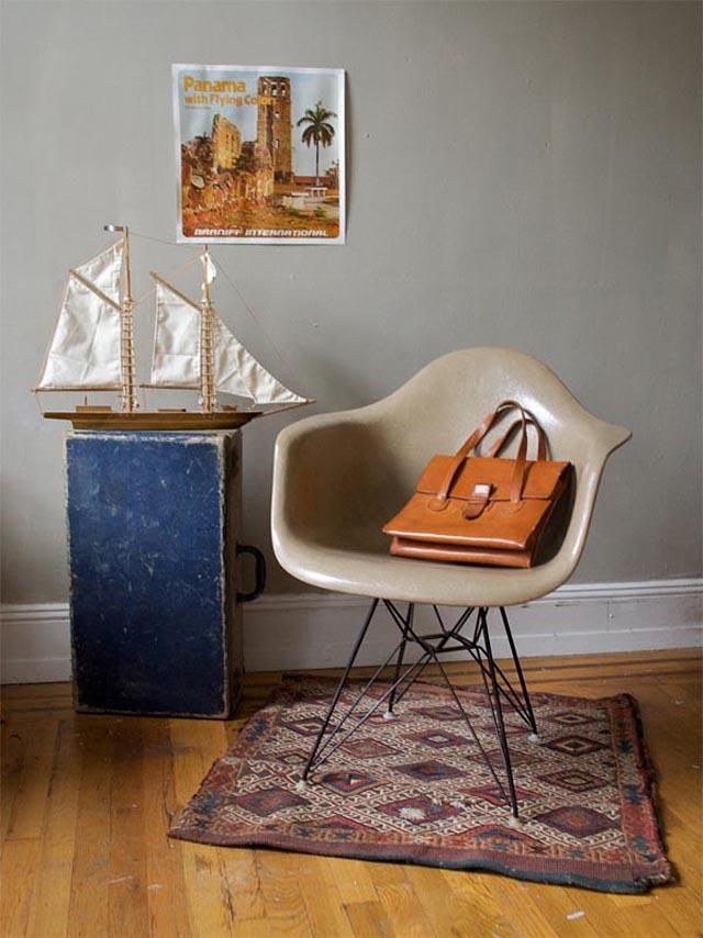 sillas vintage antiguas de los 50s-sillon dar eames beige retro