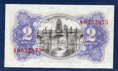 Spain money 2 Pesetas Bridge of Toledo on the River Manzanares, Madrid