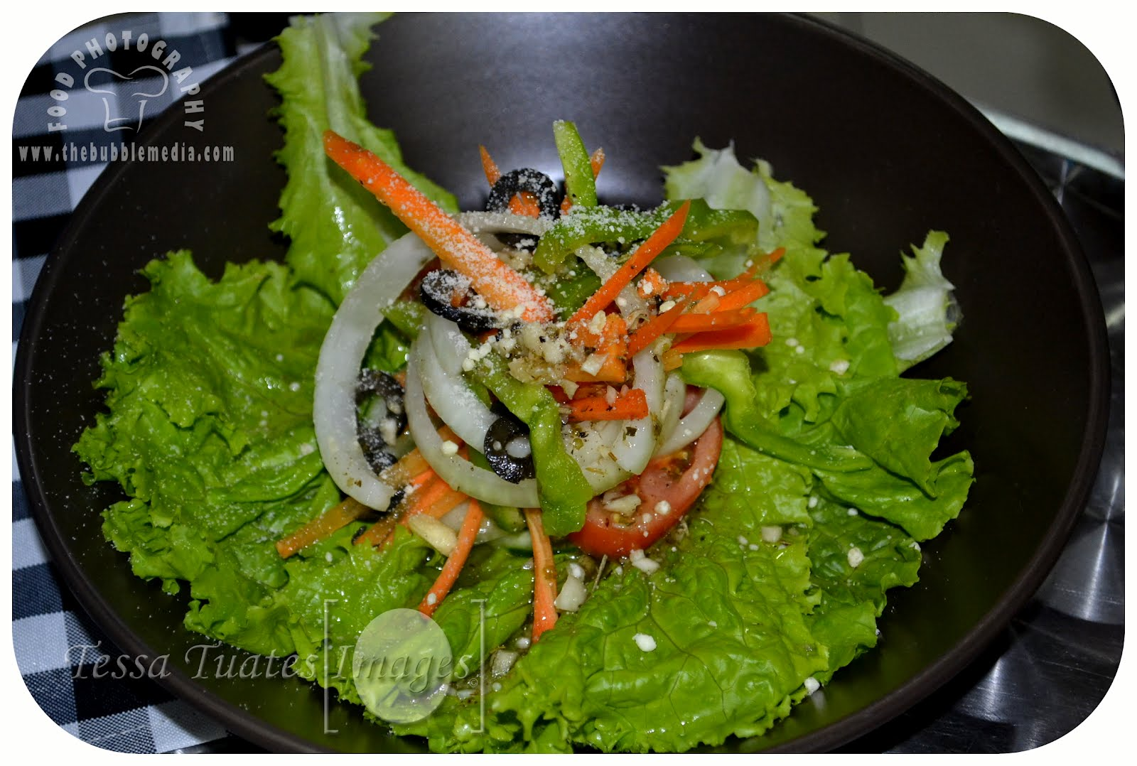 Fresh Garden salad,  Baguio grown garden vegetables served with oilives, our house vinaigrette and parmesan cheese. http://www.thebubblemedia.com