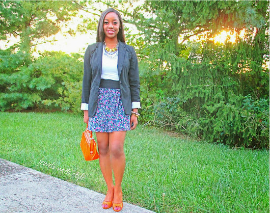 style, fashion blogger, style advice, M Renee Design, Jewels with Style, handmade jewelry, black fashion blogger, orange purse, orange shoes, black blazer