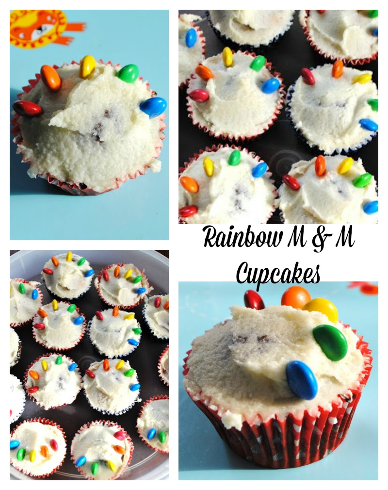 Rainbow M and M Cupcakes