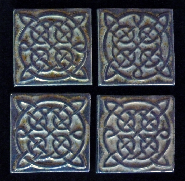 Decorative Handmade Ceramic Tile Decorative Relief Carved Ceramic Celtic Knot Tiles